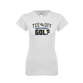 Next Level Ladies SoftStyle Junior Fitted White Tee-Track and Field Design