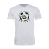 Next Level SoftStyle White T Shirt-Soccer Circle Design