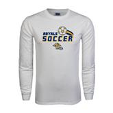White Long Sleeve T Shirt-Soccer Swoosh Design