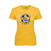Ladies Gold T Shirt-Soccer Circle Design