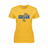 Ladies Gold T Shirt-Soccer Swoosh Design