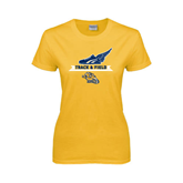 Ladies Gold T Shirt-Track and Field Design