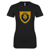 Next Level Ladies SoftStyle Junior Fitted Black Tee-Lion Head Shield
