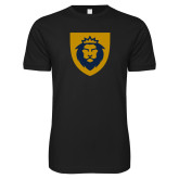 Next Level SoftStyle Black T Shirt-Lion Head Shield
