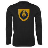 Performance Black Longsleeve Shirt-Lion Head Shield