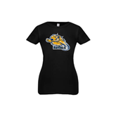 Youth Girls Black Fashion Fit T Shirt-Warner Royals w/ Lion