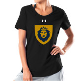 Ladies Under Armour Black Charged Cotton Tee-Lion Head Shield