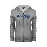 ENZA Ladies Grey Fleece Full Zip Hoodie-Warner University