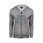 ENZA Ladies Grey Fleece Full Zip Hoodie-Warner University Stacked w/ Shield