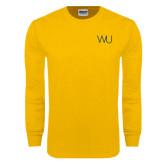 Gold Long Sleeve T Shirt-WU Cattle Brand
