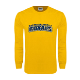 Gold Long Sleeve T Shirt-Arched Warner University Royals