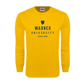 Gold Long Sleeve T Shirt-Warner University Stacked w/ Shield