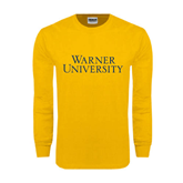 Gold Long Sleeve T Shirt-Warner University Stacked