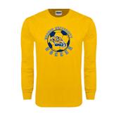 Gold Long Sleeve T Shirt-Soccer Circle Design