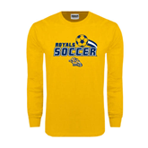 Gold Long Sleeve T Shirt-Soccer Swoosh Design