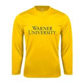 Performance Gold Longsleeve Shirt-Warner University Stacked
