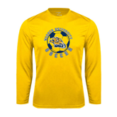 Performance Gold Longsleeve Shirt-Soccer Circle Design