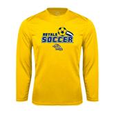 Performance Gold Longsleeve Shirt-Soccer Swoosh Design