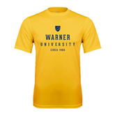 Performance Gold Tee-Warner University Stacked w/ Shield