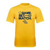 Performance Gold Tee-Game. Set. Match. Tennis Design