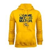 Gold Fleece Hoodie-Game. Set. Match. Tennis Design