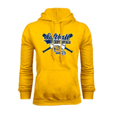 Gold Fleece Hoodie-Softball Crossed Bats w/ Ball