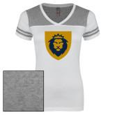 Ladies White/Heathered Grey Juniors Varsity V Neck Tee-Lion Head Shield