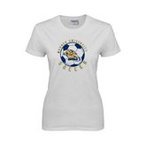 Ladies White T Shirt-Soccer Circle Design