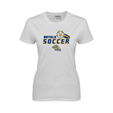 Ladies White T Shirt-Soccer Swoosh Design