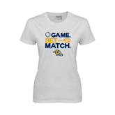Ladies White T Shirt-Game. Set. Match. Tennis Design