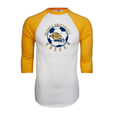 White/Gold Raglan Baseball T-Shirt-Soccer Circle Design