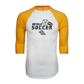 White/Gold Raglan Baseball T-Shirt-Soccer Swoosh Design