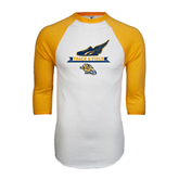 White/Gold Raglan Baseball T-Shirt-Track and Field Design