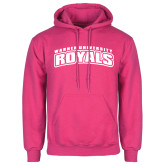 Fuchsia Fleece Hood-Arched Warner University Royals