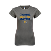 Ladies SoftStyle Junior Fitted Charcoal Tee-Game. Set. Match. Tennis Design