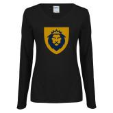 Ladies Black Long Sleeve V Neck Tee-Lion Head Shield