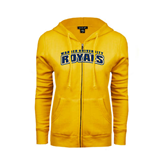 ENZA Ladies Gold Fleece Full Zip Hoodie-Arched Warner University Royals