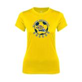 Ladies Syntrel Performance Gold Tee-Soccer Circle Design