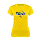Ladies Syntrel Performance Gold Tee-Soccer Swoosh Design