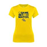 Ladies Syntrel Performance Gold Tee-Game. Set. Match. Tennis Design