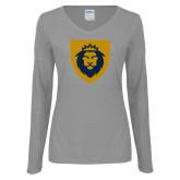 Ladies Grey Long Sleeve V Neck Tee-Lion Head Shield