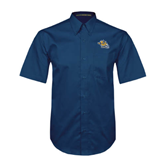Navy Twill Button Down Short Sleeve-Warner Royals w/ Lion