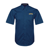 Navy Twill Button Down Short Sleeve-Arched Warner University Royals