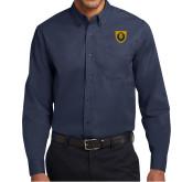 Navy Twill Button Down Long Sleeve-Lion Head Shield