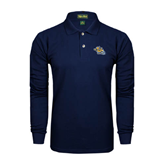Navy Long Sleeve Polo-Warner Royals w/ Lion