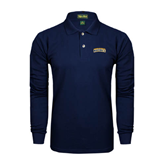 Navy Long Sleeve Polo-Arched Warner University Royals