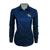 Ladies Navy Twill Button Down Long Sleeve-Warner Royals w/ Lion