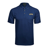 Navy Easycare Pique Polo w/ Pocket-Arched Warner University Royals