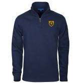 Navy Slub Fleece 1/4 Zip Pullover-Lion Head Shield