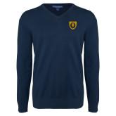 Classic Mens V Neck Navy Sweater-Lion Head Shield